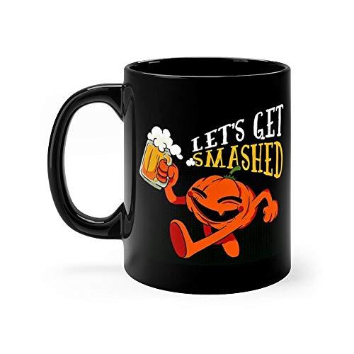 Lets Get Smashed Gift For Drinking Lover Women Men Black Ceramic 11oz Coffee Tea Mug -
