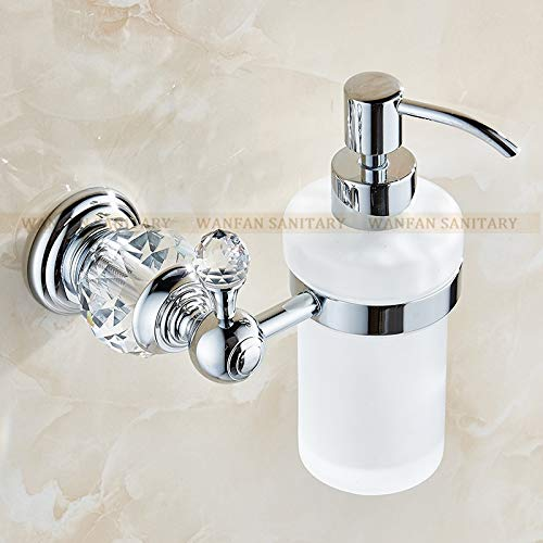 SOMITI | Liquid Soap Dispensers | Liquid Soap Dispensers Luxury Gold Color Soap Dispenser Wall Mounted with Frosted Glass Container Bottle Bathroom Products HK-38