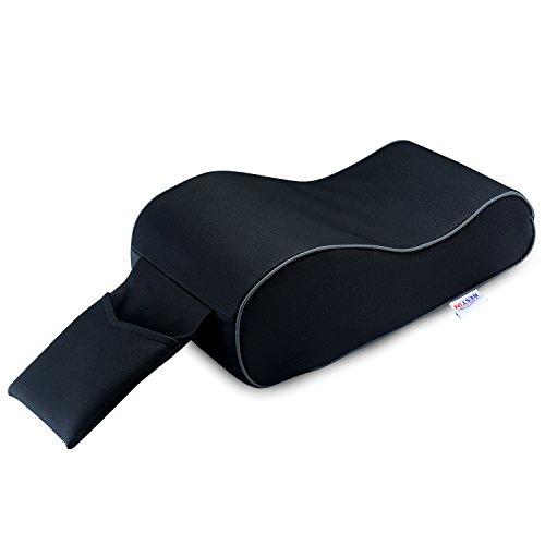 BESTIN Car Center Console Comfort Support Armrest Cushion PU Leather & Memory Foam Pad (Black) (Black)
