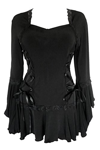 Steampunk Witch (Dare To Wear Victorian Gothic Boho Women's Plus Size Bolero Corset Top Black 2x)