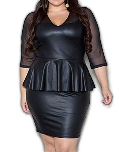 (837 - Plus Size Sexy PVC Mesh Peplum Cocktail Club Dress Black (2X))