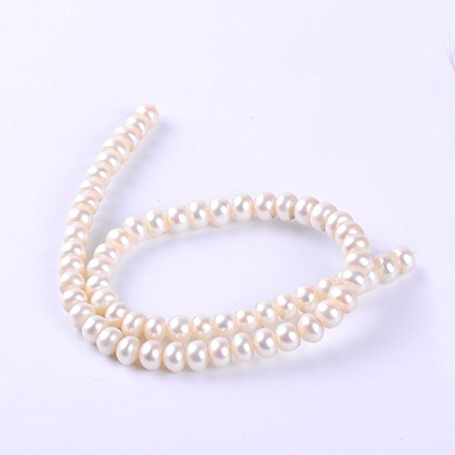 63Pcs/lot 7-8MM AAAA Round Rondelle Natural Freshwater Pearl Beads Spacer Loose Beads (White)