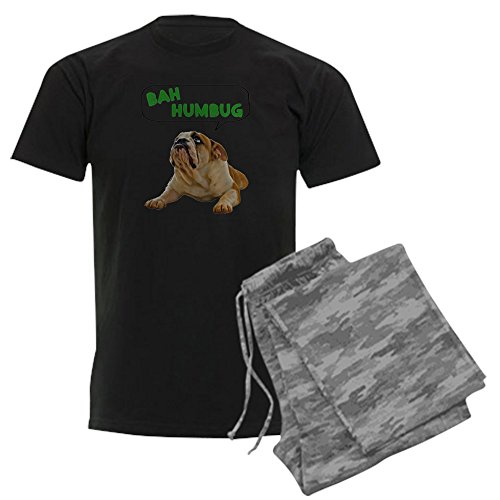 CafePress - FIN-Bulldog-Lying-Bah-Humbug-.Png Men's Dark Pajam - Unisex Novelty Cotton Pajama Set, Comfortable PJ Sleepwear