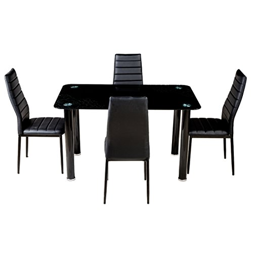 Woodness Brooke Glass 4 Seater Dining Table Set  Black