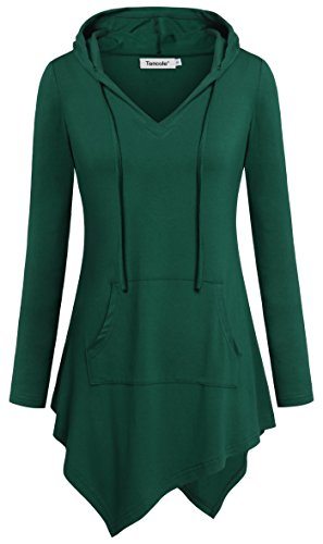 (Tencole Tunics to Wear with Leggings, V Collar Slim Fitted Soft Tee Shirt Tops,Green,Medium)