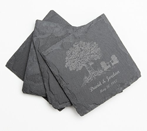 Personalized Wedding Coasters (Personalized Coasters Slate, Custom Engraved Slate Coaster Set Tree Initial Design 31-Personalized Wedding Gifts, Anniversary Gift, Housewarming Gift, Bridal Shower Gifts)