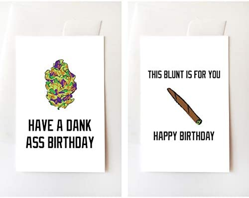 Amazon Nug Blunt Stoner Birthday Greeting Card Set Funny Internet Trill Weed Dank Nugs Office Products