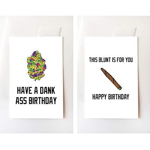 Nug & Blunt Stoner Birthday Greeting Card Set, Funny, Internet, Trill, Weed, Dank, Nugs