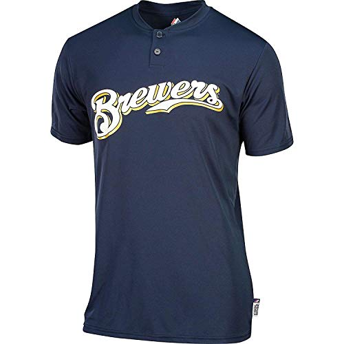 Majestic Two-Button Milwaukee Brewers Replica Youth Cool Base Jersey YM ()