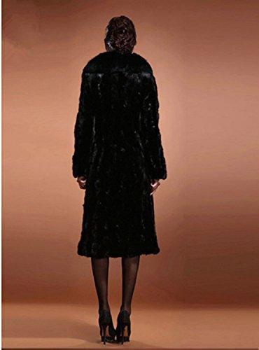 Black Sintética Simple de de Abrigos Abrigo de Moda Manga Chaqueta de Larga Sólida Otoño de Mujer Abrigo Largo Piel Piel Invierno Px8txRv