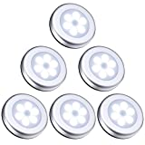 Image of ORIA Motion Sensor Light, 6 LED Battery-Powered Wireless Outdoor Night Light, Waterproof Security for Light Patio Hallway, Closet, Stairs, Bathroom, Bedroom, Kitchen, Set of 6, Silver