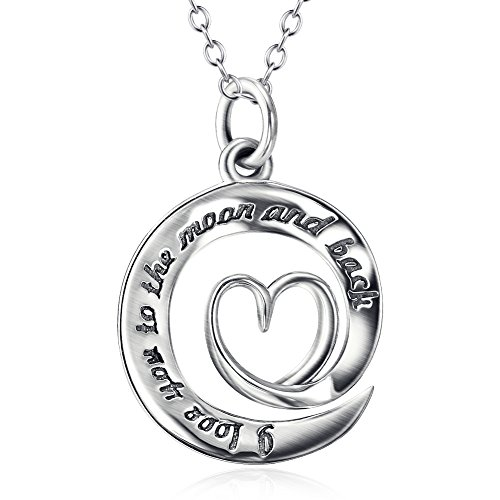 "Argent de montagne Argent sterling 925 Collier pendentif coeur ""I Love You to the moon and back"" Amour, 45,7 cm"
