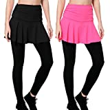 Wantdo Women's Gym Skirted Leggings Tight 4 Ways Strechy Shaping Hip Push up Yoga Pants 2 Pack Small Black&Pink