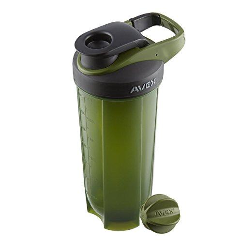 AVEX Mixfit Shaker Bottle with Carabiner Clip, 28oz, Olive