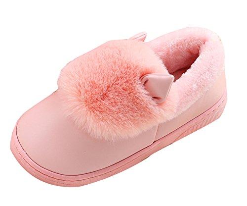 Icegrey Unisex Zapatillas De Estar Por Casa Calientes felpa de piel sintética Con 3D Vaca Botas De Interior Para La Pareja Rosa claro
