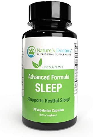 Natures Doctors Natural Sleep Aid with Melatonin & Valerian– Deep Sleep Supplement, Insomnia Relief, Wake Refreshed- Also Includes Tryptophan & Chamomile- 30 Veggie Sleeping Pills