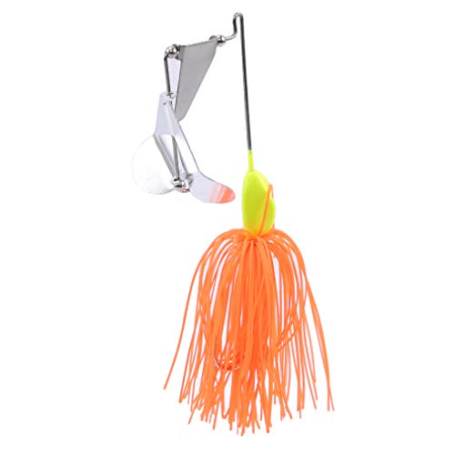 (TraveT Topwater Tractor Fishing Lures Small Fish Buzzbait Skirt Tail Spinner Baits Spoons Willow Leaf Tassels Lure,Orange (3))