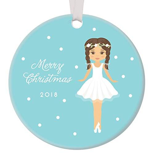 Merry Christmas Ballerina Ornament 2018 Ceramic Collectible Present to Dancer Grandchild Sugarplum Fairy Daughter Ballet Dance Recital Blue 3