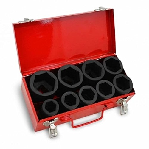 10 Pc 1″ One Inch Drive Dr Deep Big Size Air Black Impact Socket Wrench Tool Set