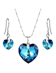 EleQueen 925 Sterling Silver Heart of Ocean Titanic Inspired Necklace Earrings Set Adorned with Swarovski® Crystals