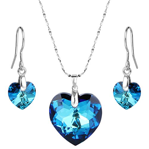 """Elequeen 925 Sterling Silver """"heart Of Ocean"""" Bridal Necklace Earrings Set Adorned With Swarovski Cr"""