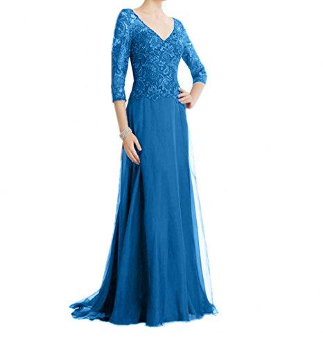 Lang La Braut Spitze Fesltichkleider Blau A Brautmutterkleider Damen Abendkleider Rock Promkleider mia Linie wrIqqt