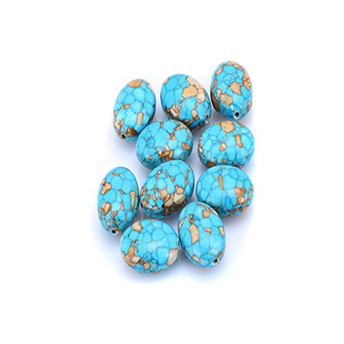Bead Turquoise Pendant Blue (Turquoise Stone Loose Beads Oval Pendant Beaded Wired Gemstone Handmade Bead for Necklace Bracelet Jewelry Making Craft)