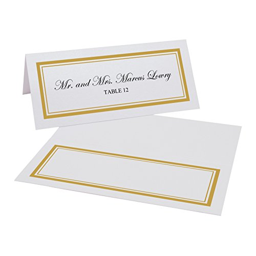 Documents and Designs Double Line Border Easy Print Place Cards (Select Color), Gold, Set of 150 (25 Sheets)