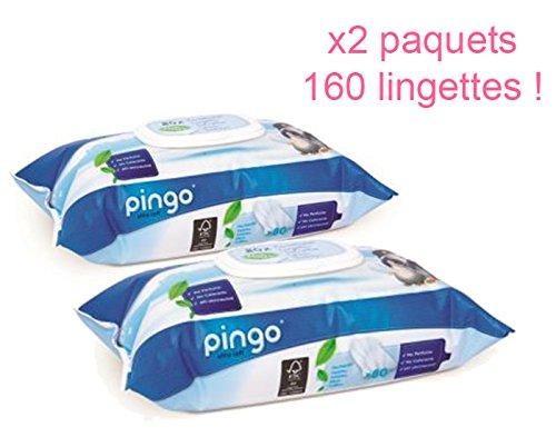 PINGO: Lingettes écologiques PH Naturel pour peaux sensibles x2 paquets (160 lingettes) Natal Baby 3553350009836