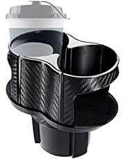 2-in-1 bekerhouder voor de auto, multifunctionele bekerhouder met verstelbare basis en adaptieve elastische clip voor de meeste drankflessen, blikjes en thermosflessen