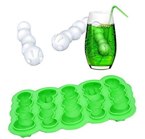 3D Ice Mold for Whiskey Caterpillar Mold Ice Cube Tray Bar Party Cocktail for Ice Cream Cakes Biscuits Boudin Mousse Jelly Chocolate, Gessppo (Green) (Cakes Cream Chocolate Ice)