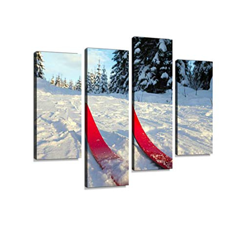 Cross-Country Skiing in Oslo, Norway Canvas Wall Art Hanging Paintings Modern Artwork Abstract Picture Prints Home Decoration Gift Unique Designed Framed 4 Panel