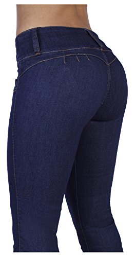 Curvify 764 Women's Butt-Lifting Skinny Jeans | High-Rise Waist, Brazilian Style Indigo 11 (Best Jeans For No Booty)