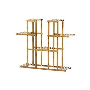 WAN SAN QIAN- Bamboo Floor Stand Multi - Storey Balcony Living Room Flower Shelf Combination Flower Frame Carbonization Flower Rack 90x25x87cm Flower racks