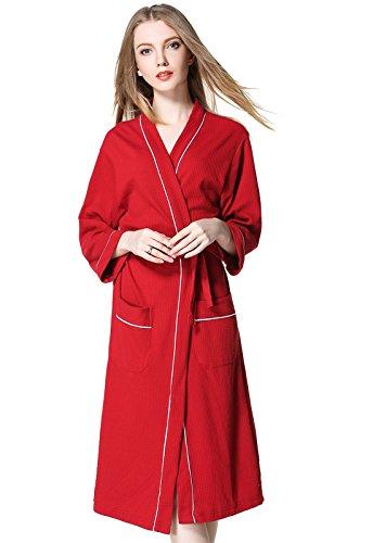 ALICECOCO señoras algodón floral kimono vestir vestido de lazo de la cintura traje de noche traje de noche Rojo