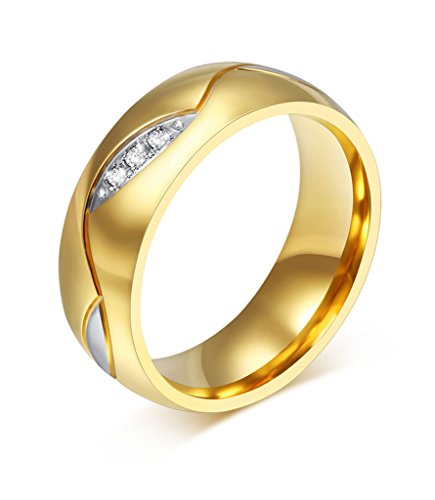 Womens Stainless Steel CZ Couple Ring for Valentine Lover Engagement Promise Wedding Band,Size 7