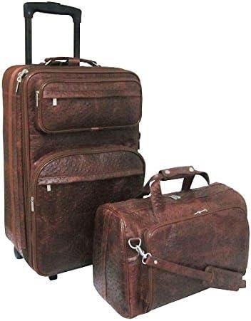 Brown Ostrich 2 Piece Luggage Set