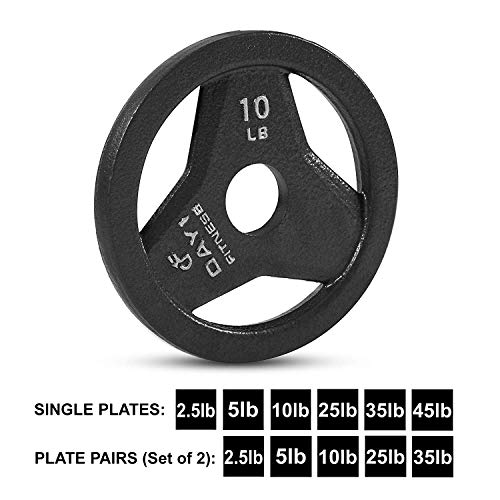"Day 1 Fitness Cast Iron Olympic 2-Inch Grip Plate for Barbell, 10 Pound Single Plate Iron Grip Plates for Weightlifting, Crossfit - 2"" Weight Plate for Bodybuilding by Day 1 Fitness (Image #8)"
