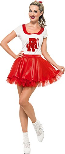 Small Red And White Sandy Cheerleader Fancy Dress Costume.