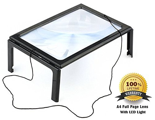 FiveJoy Hands Free Page Magnifier for Reading and Crafting with LED Lights - 2X Magnification - Has Flip Out Legs Standing over Document - Comes with Neck Cord to Hang around Neck
