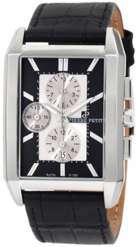 Pierre Petit Men's P-780A Serie Paris Rectangular Case Black Leather Chronograph Watch
