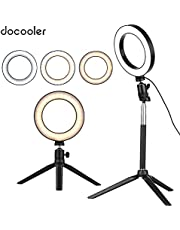 Docooler 6 Inch Mini LED Ring Light Photography Lamp Dimmable 3 Lighting Modes USB Powered with Telescopic Stand Mini Desktop Tripod Ballhead for Selfie Photography
