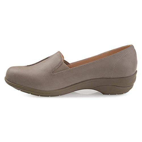 Brinley Co Kvinners Emalin Uformell Faux Skinn Comfort-såle Loafers Grå