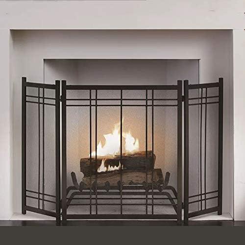 暖炉スクリーン 木材や石炭焼成用3-パネル錬鉄の暖炉の安全柵、スパーク炎残り火火スクリーンガード、