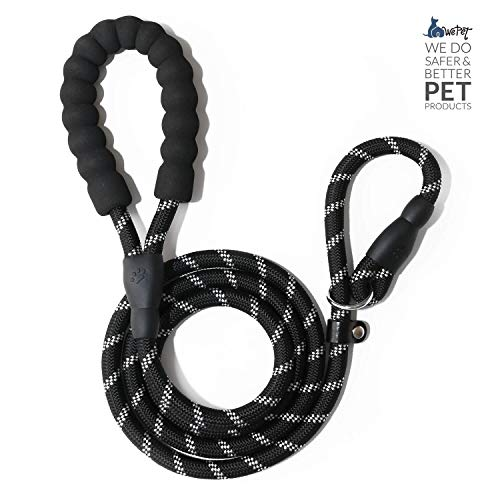 WePet Durable Dog Leash for Medium Large Dogs, Sturdy and Premium Quality Reflective Leashes, Supports Strong Pulling, Comfortable Padded Handle, 6 Feet Slip Rope Lead for Walking and Training