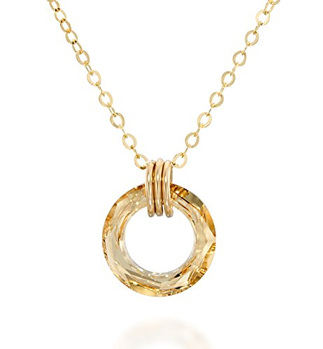 Stera Jewelry Circle Pendant 14k Gold Filled Necklace Made with Original Swarovski Cosmic Ring Crystal, 18