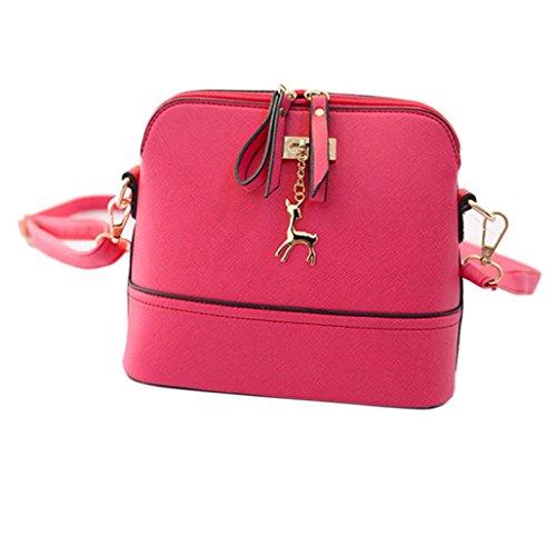 Lenfesh - Bolso mochila  de Piel Sintética para mujer Rosa