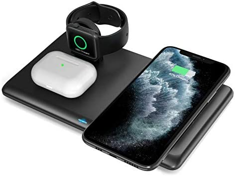 Wireless Charger,3 in 1 Fast Qi Wireless Charging Station for AirPods,Wireless Charging Stand for iWatch 6/5/4/3/2/iPhone 12/11/11 Pro/SE/X/XS/XR/XS Max/8/8 Plus,Wireless Charging pad for Samsung