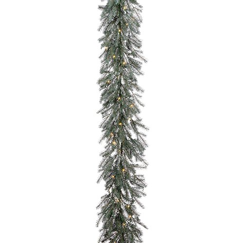 10'6'' Battery Operated Pine LED-Lighted Artificial Garland -Green/Gray