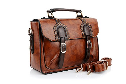 Amazon.com: UonBox Women's British Vintage PU Leather Patchwork ...
